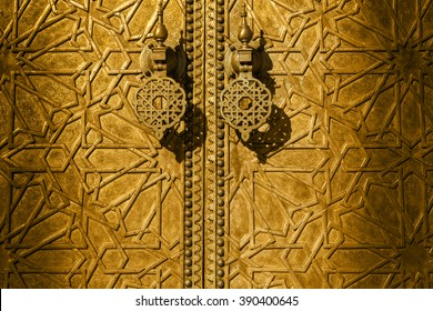 Detail of the golden doors of Dar el Makhzen, Royal Palace in Fes, Morocco