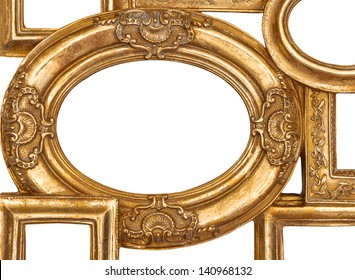 detail of golden framework isolated on white background. empty baroque frame for photo and picture