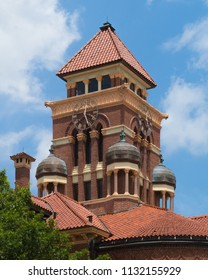 detail of the Gonzales County Texas tower showing the clock