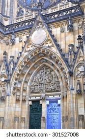 Detail of the Gothic architecture and decorations of St Vitus Cathedral, Prague, Czech Republic