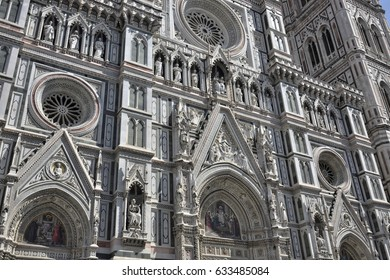 Detail of the gothic cathedral of Florence in Italy or Basilica of Saint Mary of flower by Filippo Brunelleschi architect