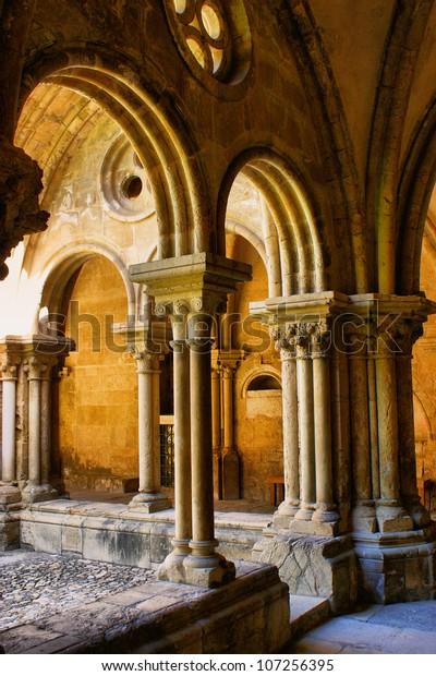 Detail of gothic column in Se Velha, Coimbra