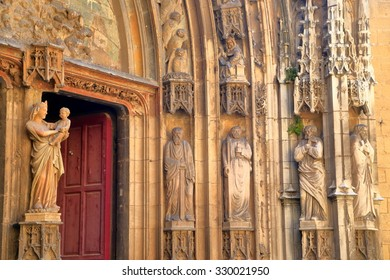 Detail of Gothic decorations of the main gate to Aix Cathedral, Aix-en-Provence, France