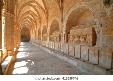 Detail of Gothic walls of the cloister of the Monastery of Santa Maria de Santes Creus in Catalonia, Spain