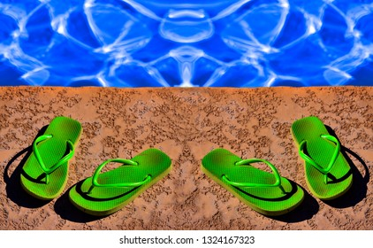 98b17fd2b0dc61 Detail of green flip flops for summer next to swimming pool wet water