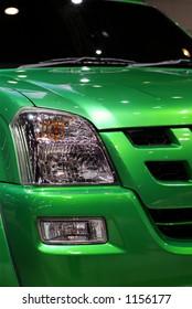 Detail of green pickup truck
