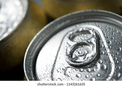 Detail of a group of beer cans