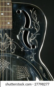 Detail of guitar dobro