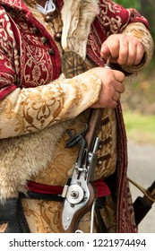 Detail of Gyulaffy Laszlo traditionalist banderium weapons and clothes in Badacsony in 09. September 2018, Hungary