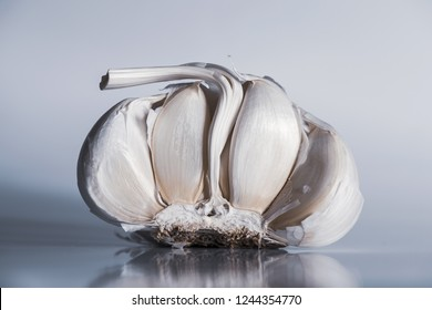 A detail of a half a garlic bulb on the gray background
