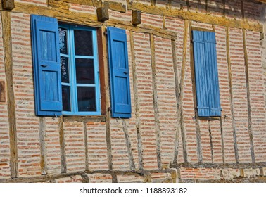 Detail of a half-timbered medieval house in Lautrec