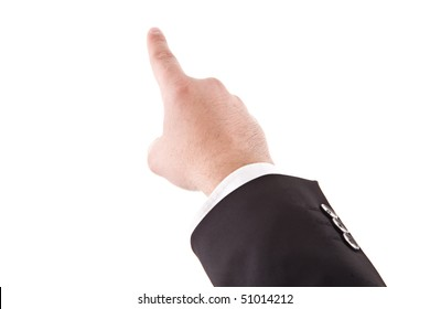 a detail of a hand pointing up, isolated on a white background