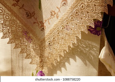 Detail of handmade lace made in Burano Venice, Italy