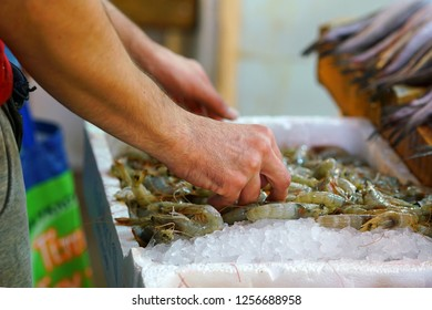 Detail of hands of fishmonger putting shrimps on display for sale in the central market of Athens, Greece