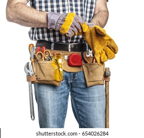 detail of handyman with toolsbelt and tools isolated on white background
