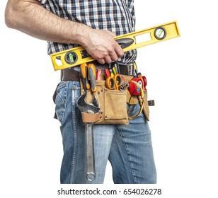 detail of handyman with tspirit level isolated on white background