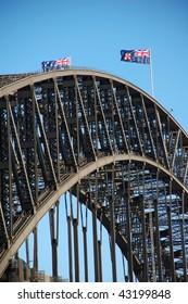 Detail of Harbour Bridge in Sydney, Australia with Australian flags