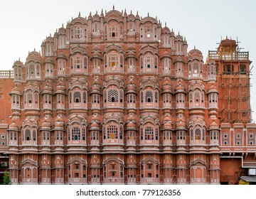Detail of the Hawa Mahal, Palace of Winds of Jaipur, Rajasthan, India