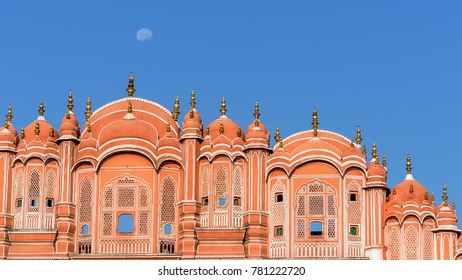 Detail of the Hawa Mahal, Palace of Winds of Jaipur and the moon, Rajasthan, India