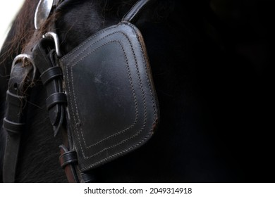 Detail of the head of a black Friesian horse with leather blinkers. Blinders ensure that horses are not startled by what they see happening around them. Focus on the stitching. Copy space