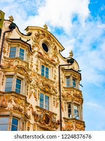 Detail of Helbling Haus facade, Innsbruck, Tirol, Austria