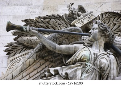 Detail of high-relief on Arc de Triomphe, Triumph of Napoleon