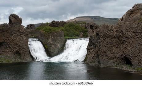detail of Hjalparfoss waterfall, Iceland