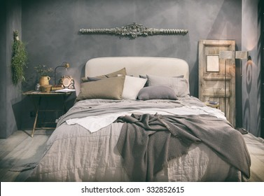 detail of  home bedroom in country style