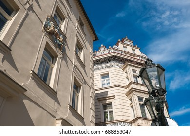 Detail of a houses and lamp in the nerudova street in Prague czech republic - Shutterstock ID 688853047