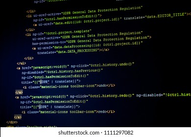 A detail of HTML AngularJS code with General Data Protection Regulation theme