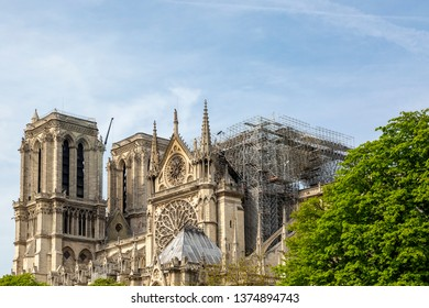 Detail image of the scaffoldings and the remains of Notre Dame Cathedral in Paris after the fire destroyed the whole roof in 15 April 2019..