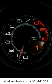 detail image of the Speedometer and tachometer in a luxury performance car