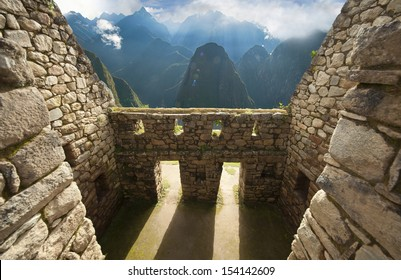 Detail of Inca wall in the ancient city of Machu Picchu, Peru