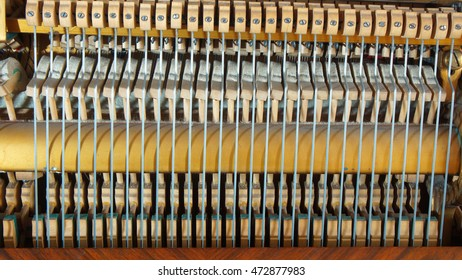 Detail of the inner workings of an antique piano