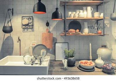 detail of interior of country style kitchen