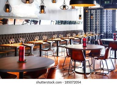 detail of interior of designed restaurant