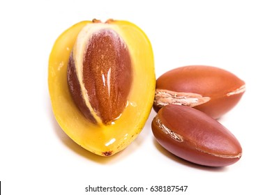 Detail of the interior of the fruit of Argan