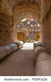 Detail from interior of the Roman Colosseum amphiteater in Rome, Italy