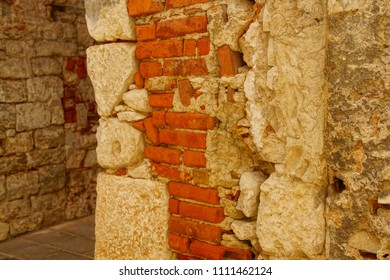 Detail of interior structure of the walls of Diocletian's Palace, Split, Croatia