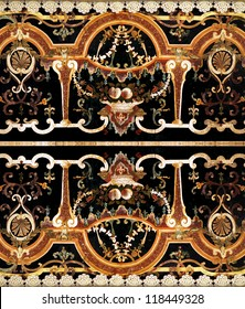 Detail of intricate ornamental marble inlay in European cathedral