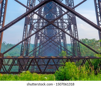 Detail Of Iron Train Trestle Over The River Valley