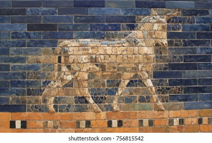 Detail of Ishtar Gate in Museum of Pergamon (Pergamonmuseum) in Berlin, Germany - July 2017