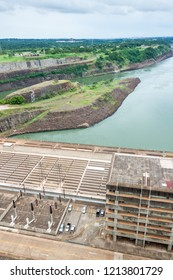 Detail of Itaipu dam on river Parana on the border of Brazil and Paraguay