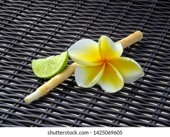 Detail of jasmine bloom, siwak and lime
