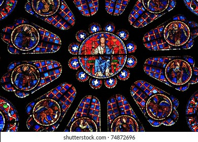 A detail of Jesus Christ from one of the stained glass windows in Chartres Cathedral, France