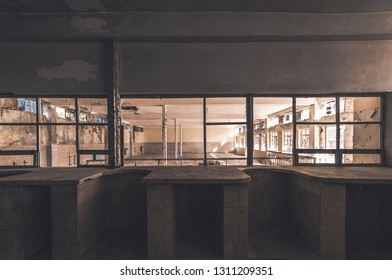 Detail from the kitchen and canteen of the complex used to be male prison during communist era on Goli otok, Naked Island, Croatia.Only privileged prisoners used to work there. It is now abandoned.