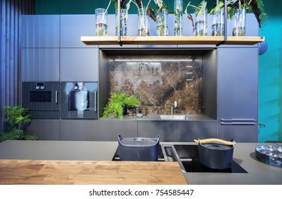 detail of kitchen interior in eco style