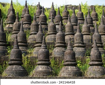 Detail of the Koe-thaung Temple, the temple of the 90,000 Buddhas, built by King Min Dikkha during the years 1554-1556 in Mrauk U, Rakhin State in Myanmar.