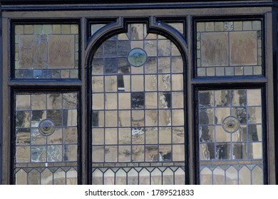 detail of leaded window with reflected light