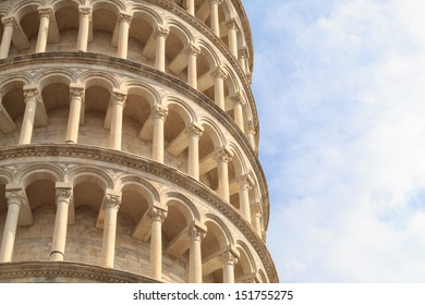 A detail of the leaning tower of Pisa